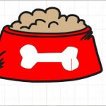 Dog bowl with food - cartoon